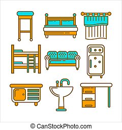 Furniture pieces colorful graphic set isolated on white