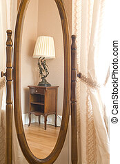 furniture reflected in a mirror
