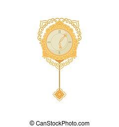 furniture., reloj, pared, fondo., blanco, princesa