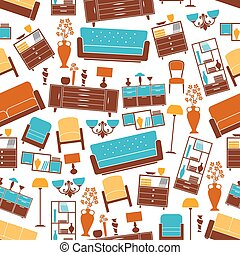 Furniture seamless pattern with interior elements