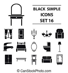 Furniture set icons in black style. Big collection furniture vector symbol stock illustration