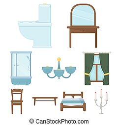 Furniture set icons in cartoon style. Big collection of furniture vector symbol stock illustration