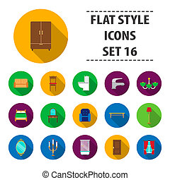 Furniture set icons in flat style. Big collection furniture bitmap,raster symbol stock illustration
