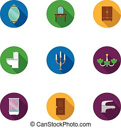 Furniture set icons in flat style. Big collection of furniture vector symbol stock illustration