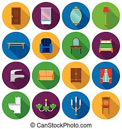 Furniture set icons in flat style. Big collection furniture vector symbol stock illustration