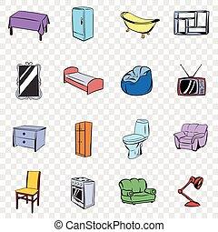 Furniture set icons