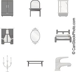 Furniture set icons in monochrome style. Big collection of furniture vector symbol stock illustration