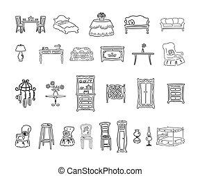 furniture set. outlined cartoon handrawn sketch illustration vector.. Collection set