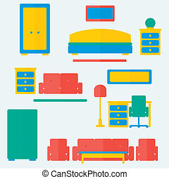 Furniture set. Trendy flat style. Vector illustration. Background