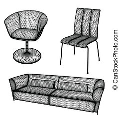 Furniture set vector illustration for design - small ...