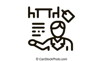 furniture shop manager Icon Animation. black furniture shop manager animated icon on white background