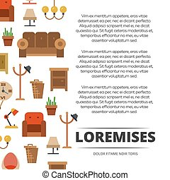 Furniture shop poster design - banner with flat furniture and accessories