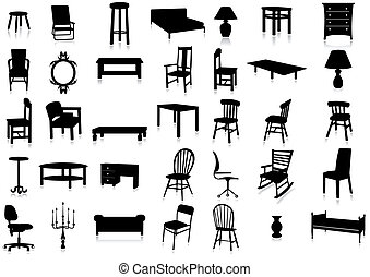 Set of furniture silhouettes with reflection effect. All vector objects are grouped. Colors are easy to adjust.