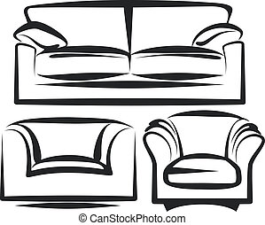 furniture - Simple vector illustration of sofa and chairs...