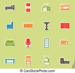 Furniture simply icons - Furniture simply symbols for web ...