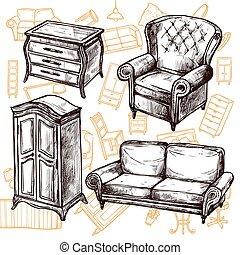 Furniture Sketch Seamless Concept - Vintage furniture chair...