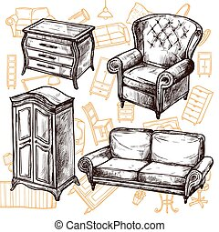 Furniture Sketch Seamless Concept - Vintage furniture chair...