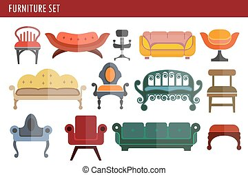 Furniture sofa couch, chair and armchair home room interior...