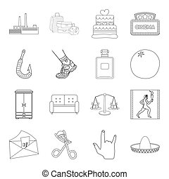 furniture, sports, medicine and other web icon in outline style.cosmetics, history, mail icons in set collection.