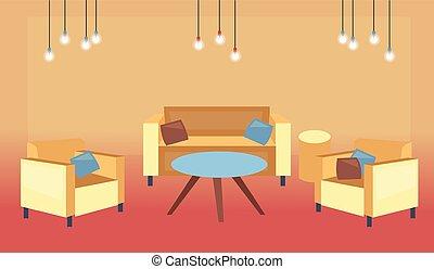 furniture., stanza moderna, confortevole, interiors., vettore, cartone animato, appartamento, interno, spazioso, illuminazioni, comodo, style., salotto, illustrazione, morbido, vivente, soffitta, concetto