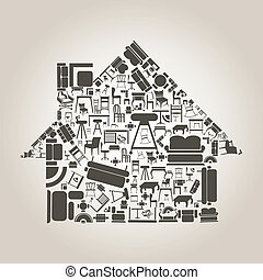 The house made of furniture. A vector illustration