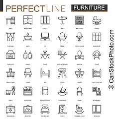 Furniture thin line web icons set. Outline stroke icon design.