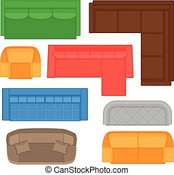Furniture top view collection for interior design. Vector illustration in flat style. Set of different sofas types for floor plan.