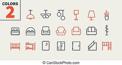 Furniture UI Pixel Perfect Well-crafted Vector Thin Line...