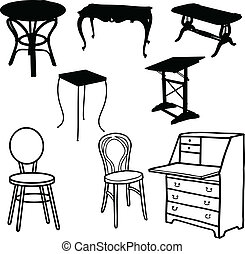 Furniture vector silhouettes