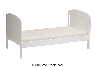 White bed for kids isolated
