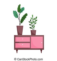 furniture with potted plants decoration isolated icon white background
