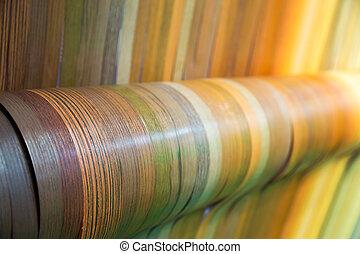 Furniture wooden veneer collection closeup. Interline...