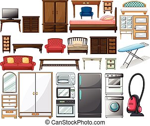 Furnitures and electronic equipments illustration
