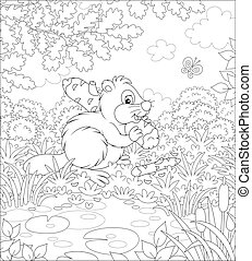 Funny river rodent with a big flat tail and large teeth carrying a small gnawed log by a pond in a forest on a beautiful summer day, black and white vector cartoon illustration for a coloring book
