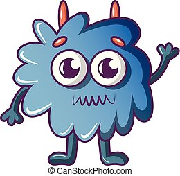 Furry monster icon, cartoon style