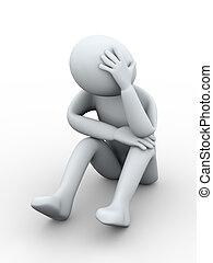 furstrated, homem, triste, 3d