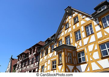 Furth, Germany (region of Middle Franconia). Timber framing architecture at Marktplatz square (also known as Gruner Markt).