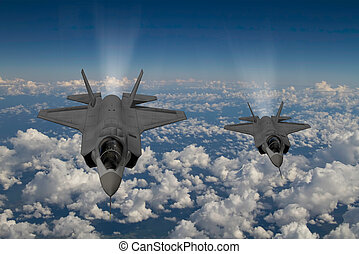 furtivement, f-35, combattant, moderne