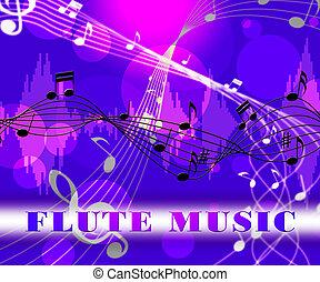 furulya, zene, jelez, hangzik, útvonal, és, fuvolás