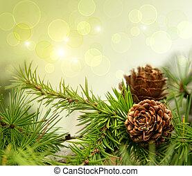 furuträ kägla, på, grenverk, med, helgdag, bakgrund