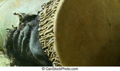 Fury black hair of an animal on the barrel