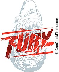 Fury sign - Pure fury illustration with shark head ...