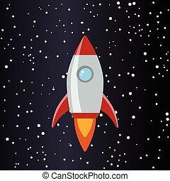 fusée, étoiles, espace