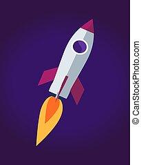 fusée, affiche, illustration espace, vecteur, bateau