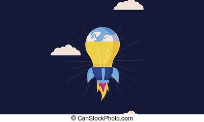 fusée, ampoule, lanceur, haut, début, animation