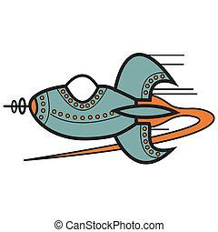 fusée, art, vaisseau spatial, agrafe