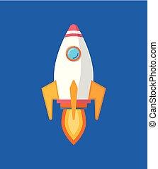 fusée, brûler, voler, ciel, début, vaisseau spatial