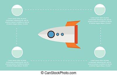 fusée, business, haut, collection, début, infographic