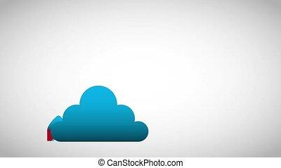 fusée, calculer, haut, début, lancement, nuage