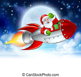 fusée, claus, dessin animé, santa, lune, noël